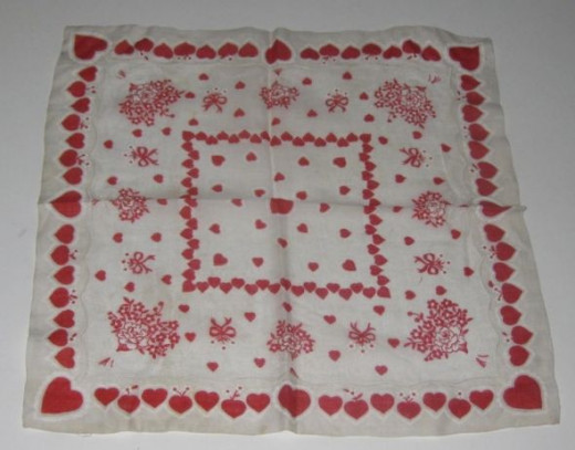 Hearts galore on this vintage handkerchief.