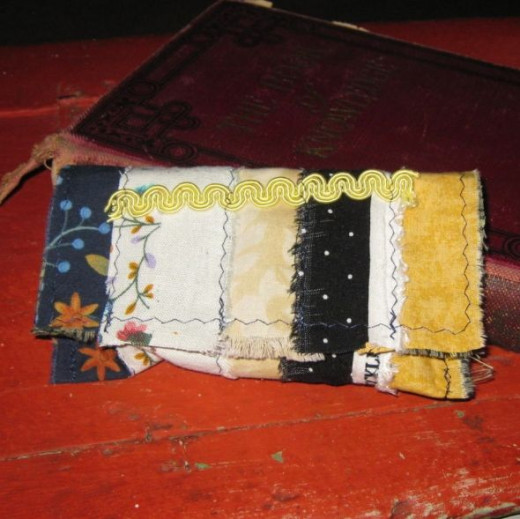 Tissue case made with scraps and vintage trim.