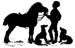 Silhoutte of Boy with Horse and Dogs. Courtesy of The Graphics Fairy.