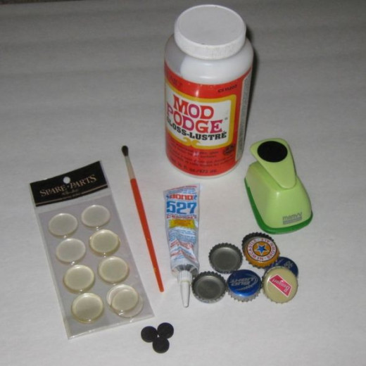 Craft supplies needed for easy magnets.