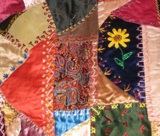 A small section of an antique crazy quilt.