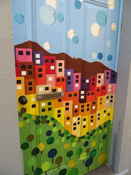 Painting on a door.