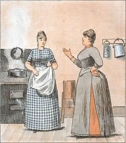 Image of a kitchen maid, in the public domain at Wikimedia Commons. Click the image to visit the page.