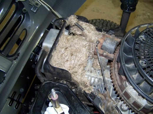 As you can see, a mouse has built a complex nest under the engine shroud of my lawn tractor.