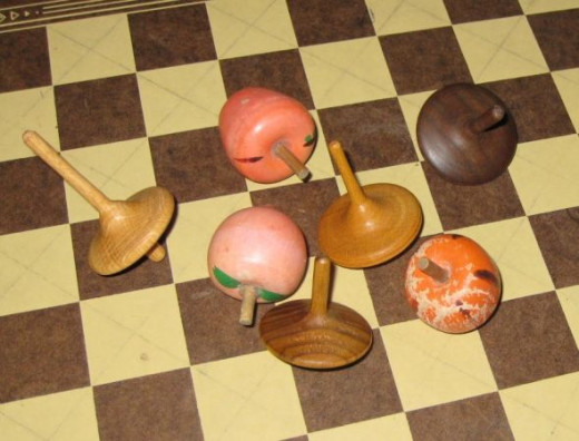 Wooden spinning tops.