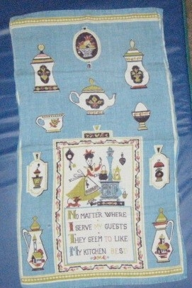 Blue vintage tea towel, linen with saying.
