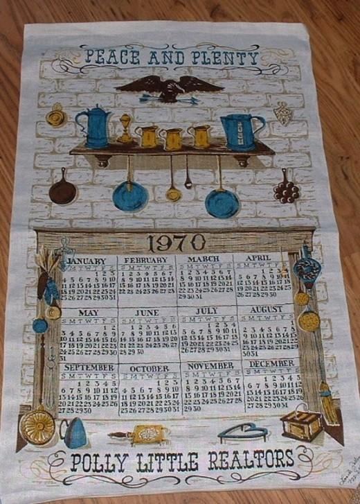 1970 vintage tea towel calendar