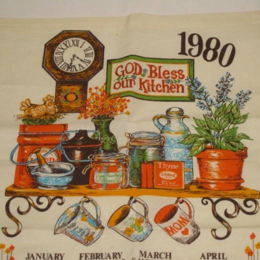 1980 vintage tea towel calendar