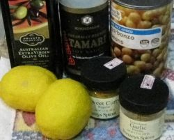 Ingredients for homemade hummus.