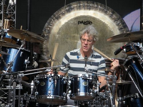 Stewart Copeland on stage during a Police soundcheck