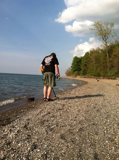 Me using my Ace 250 to search for treasure on the coast of Lake Erie.