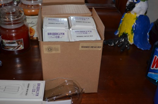 "The Edison style light bulbs come in a cool retro style box labeled ""Brooklyn Bulb Company"""