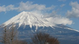 Mount Fuji in winter, from the shinkansen. You can only climb the mountain in the summer months.