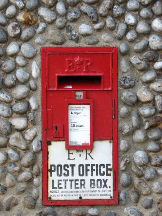 UK Red Post Box Installed During the Reign of Queen Elizabeth II