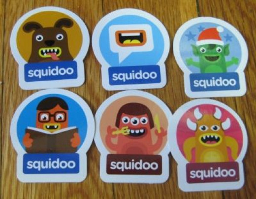 Stickers from the Squidoo Sticker Quest