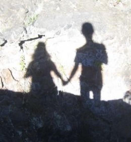Shados on the cliff of Haleakala
