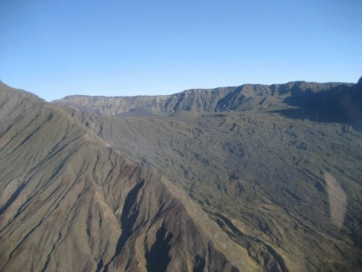 View of the side of the volcano from a Helicopter ride we had the day before camping.