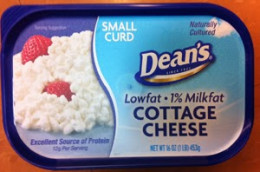 contemporary and efficient packaging in a square container crafted by Dean's for Cottage Cheese