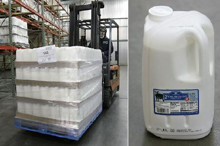 A Pallet of Square Milk Containers at WalMart as reported by daddytypes.com