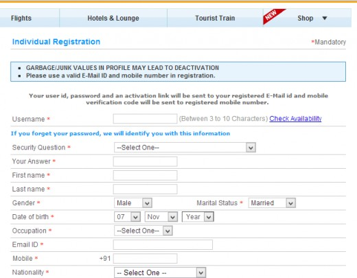 IRCTC registration form