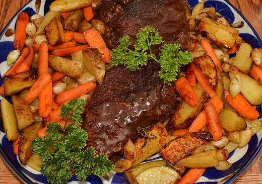 Roast Beef with Roast Potatoes and Carrots, ready for serving