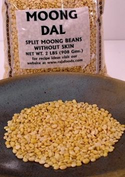 Moong dal commonly called split peas in the UK