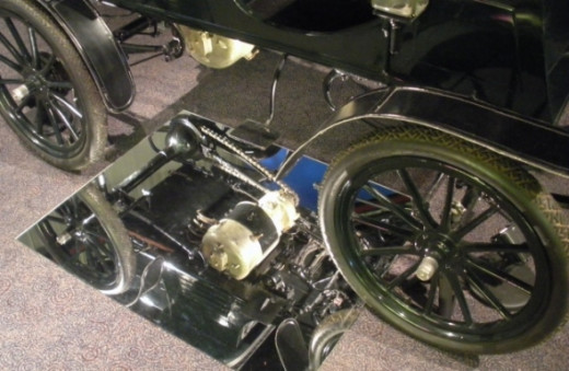 The motor of an early 1900s electric-powered car.