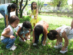 The toddlers class taking the time to play in the garden.