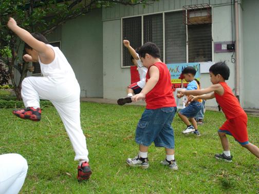 The kids love running in the playground.