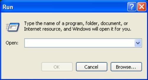 The Run dialog window.