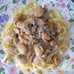 Bean Stroganoff served over noodles