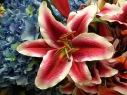 Silk lily and artificial hydrangeas