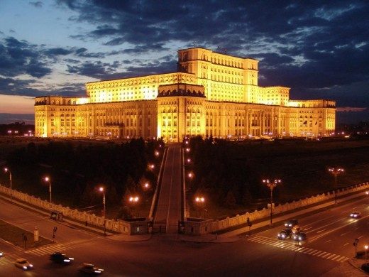 The Palace of the Romanian Parliament in Bucharest.  Taken by Mele22 and distributed under Creative Commons Attricution ShareAlike 3.0 license.