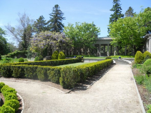 Looking across the gardens to a vine covered arbor adjacent to the mansion.  May 2012.
