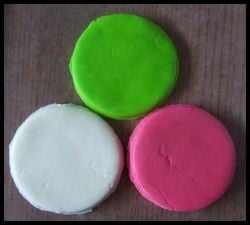 Hot pink, lime green, and white fondant