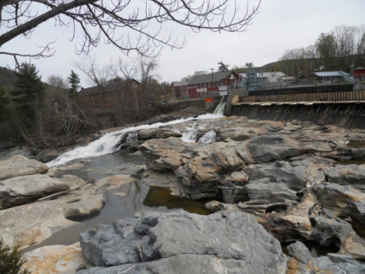 A view across the pot holes to the Shelburne Falls