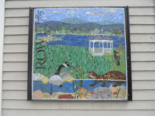 """This Rowe (village) mosaic is located on the Buckland side of the Deerfield River on """"A Brush With Faith"""""""