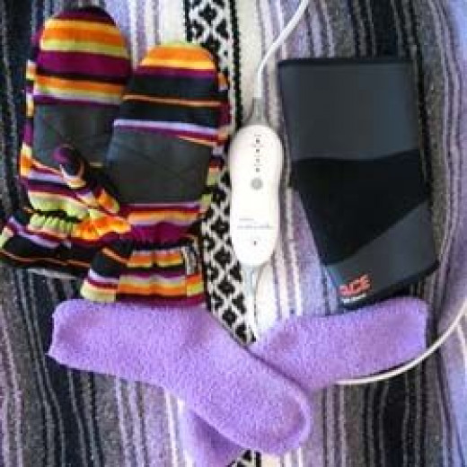 My elbow brace, warm fuzzy socks, convertible gloves, and my heating pad all make my pain more tolerable in cold weather.