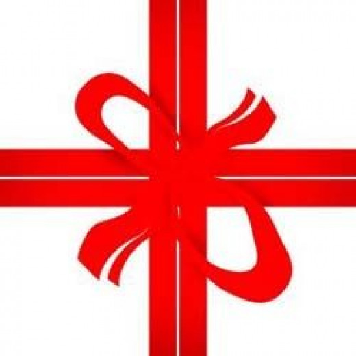 Illustration of a red ribbon across a square package