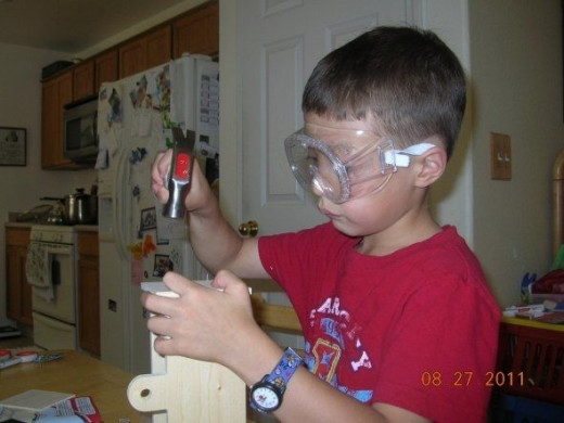 My son with his new tool set