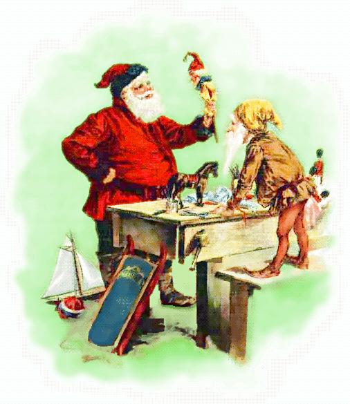 Santa Inspecting Toys