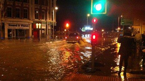 Flooded Lowestoft Main Street - December 2013