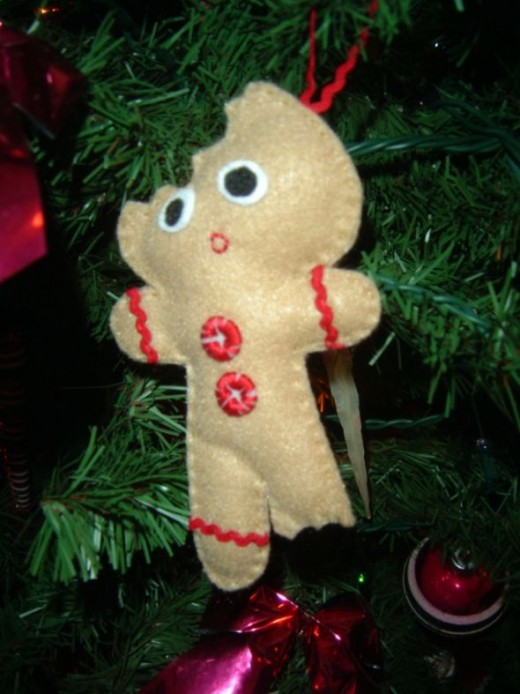 Half Eaten Gingerbread Man Ornament