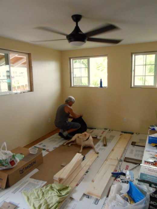 All the ceilings were painted flat white. I chose barley for the walls of the living room and adjoining kitchen.