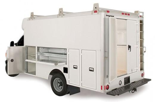 Service trucks with surveillance cameras