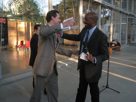 San Francisco Mayor Gavin Newsom and Van Jones at The Green Collar Economy book signing, San Francisco, CA. 14 October 2008