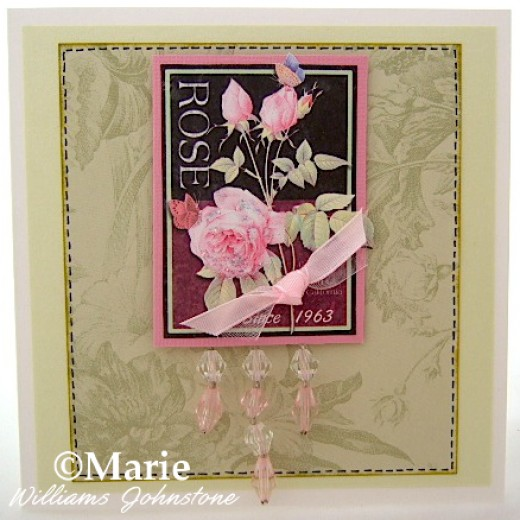 Handmade pink rose flower handmade card with hanging beads