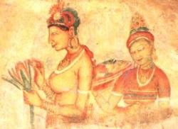 Fresco arts found in Sigiriya Rock walls