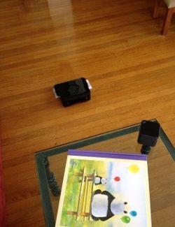 Mint Robotic Floor Cleaner on quick-clean mode