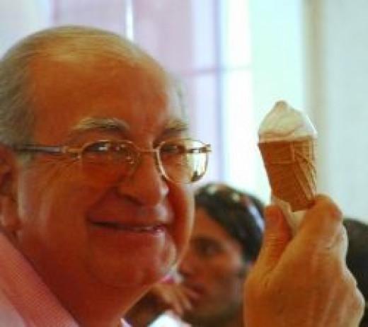 Grandpa with ice cream cone